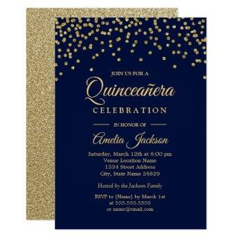 Gold Navy Sparkle Confetti Quinceanera Invite