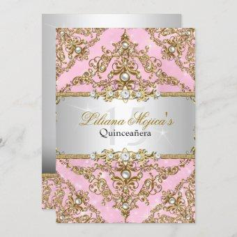 Gold & Pink Pearl Damask Invite