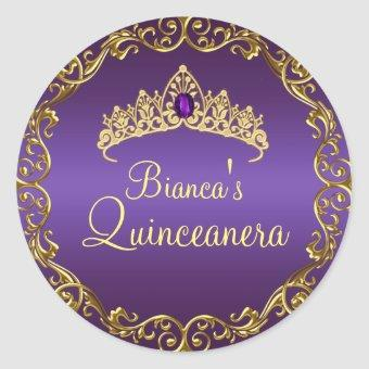 Gold & Purple Gem Tiara Sticker