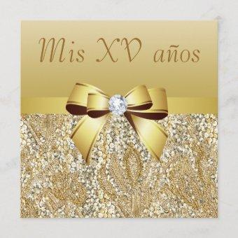 Gold Sequins, Bow & Diamond