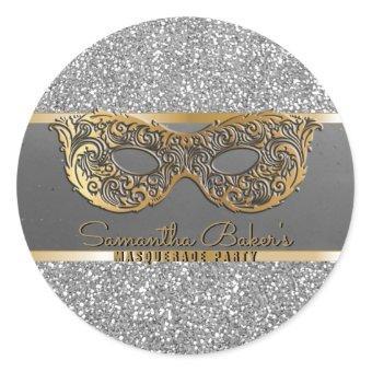 Gold Silver Glitter Masquerade Party Birthday Classic Round Sticker