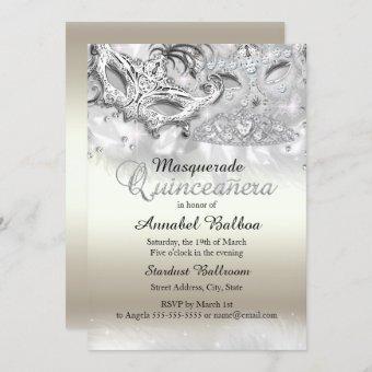 Gold Silver Sparkle Masquerade Invite