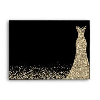 Gold Sparkle Dress Birthday Party Bridal Envelope