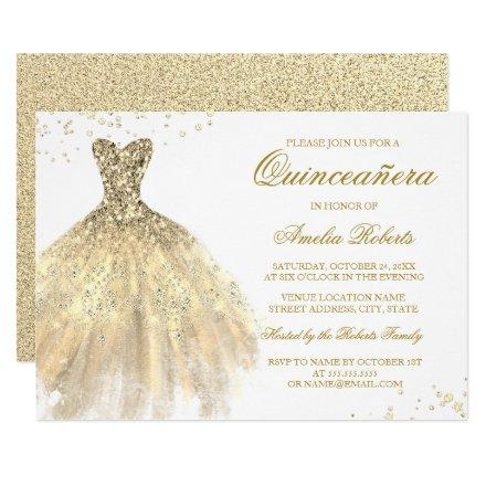 Gold Sparkle Dress Quinceanera Invitation