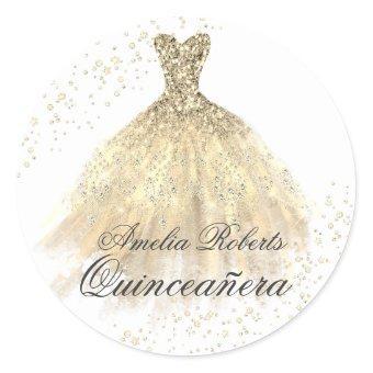 Gold Sparkle Dress Sticker