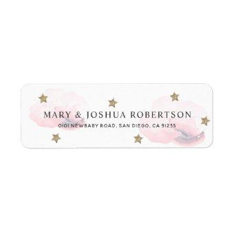 Gold Stars & Pink Fluffy Clouds Address Label
