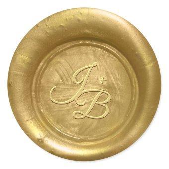 Gold Wax Seal Initials Wedding Envelope Stickers