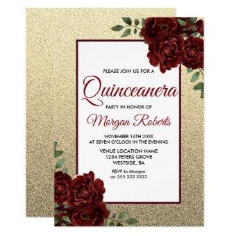 Golden Burgundy Red Rose Invite