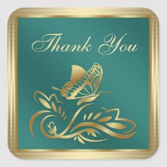 Golden butterfly and swirls on teal Thank You Square Sticker