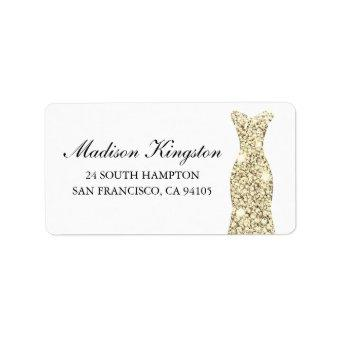 Golden Glitter Dress Birthday Party Bridal Return Label