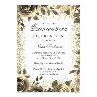Golden Glitter Floral Modern Party