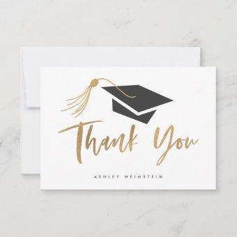 Graduation Cap and Tassel Gold Foil Thank You