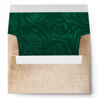 Green Roses Rustic Parchment Return Address Envelope