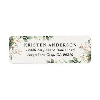 Greenery Gold Elegant Watercolor Boho Leaf Address Label