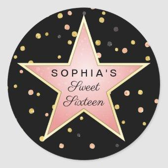 Hollywood Glam Personalized Classic Round Sticker