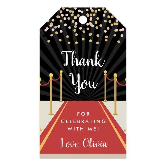 Hollywood Red Carpet Personalized Thank You Favor Gift Tags