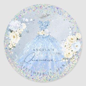 Holographic Confetti Dusty Blue Gown C Classic Round Sticker