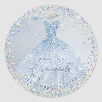 Holographic Confetti Dusty Blue Gown Classic Round Sticker