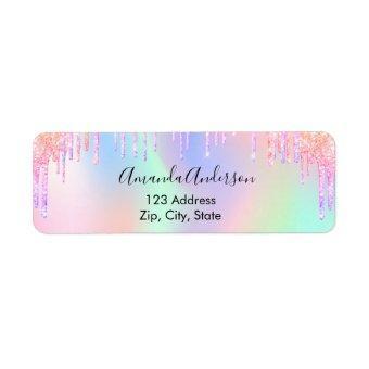 Holographic glitter drips unicorn return address label