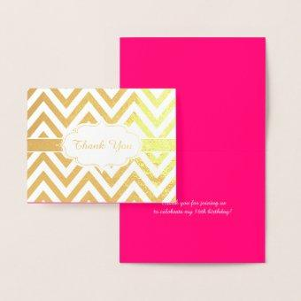 Hot Pink and Gold Chevron Girls Birthday Party Foil