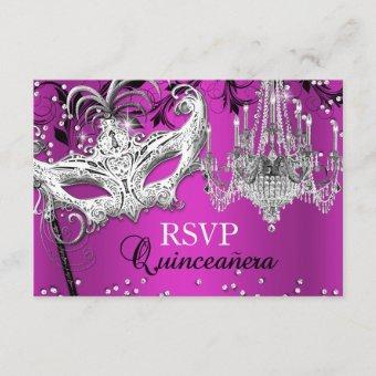 Hot Pink Chandelier Masquerade RSVP