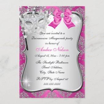 Hot Pink Damask Mask Masquerade Invite