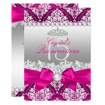 Hot Pink Damask & Pearl Bow Invite