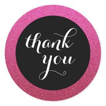 Hot Pink Glitter Black Thank You Favor Sticker