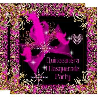 Hot Pink Gold Black Masquerade Party