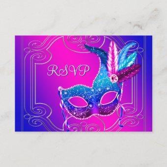 Hot Pink Purple Masquerade Party RSVP