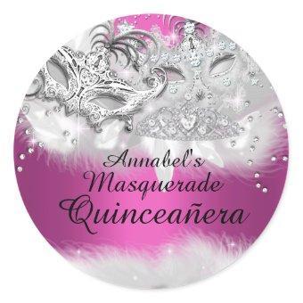 Hot Pink Sparkle Masquerade Sticker