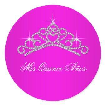 Hot Pink Tiara Sweet 15 16 Quinceana Label Classic Round Sticker