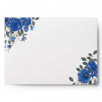 Indigo Navy Midnight Blue Flowers Envelope
