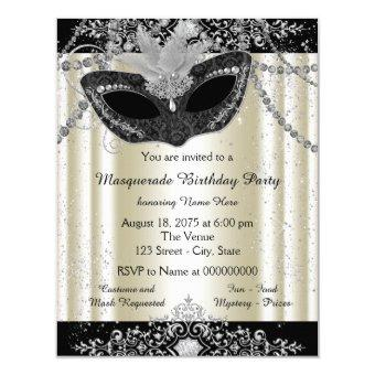Ivory and Black Pearl Glitter Masquerade Party