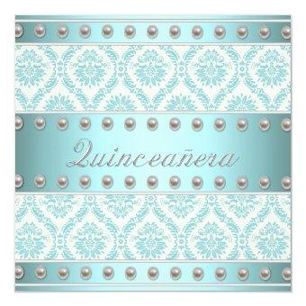 Ivory Pearls Teal Blue White Damask