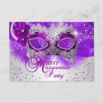 Lace Mask Purple Silver Masquerade RSVP