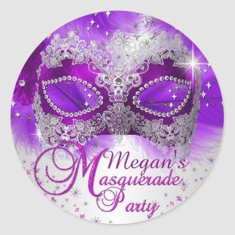 Lace Mask Purple Silver Masquerade Sticker