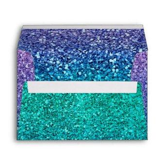 Lavender Purple & Teal Aqua Green Sparkly Party Envelope