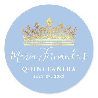 Light Baby Blue Gold Elegant Crown Classic Round Sticker