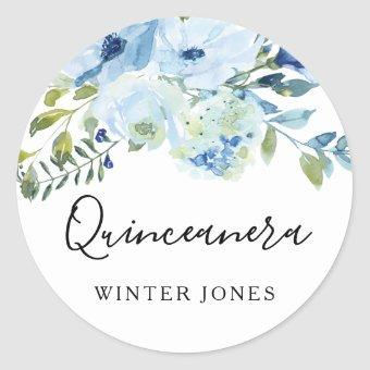 Light Blue Watercolor Floral Party Classic Round Sticker