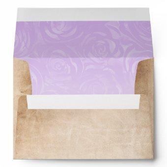 Light Purple Roses Parchment Return Address Envelope