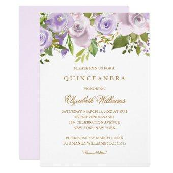 Lilac Purple Watercolor Floral Invite