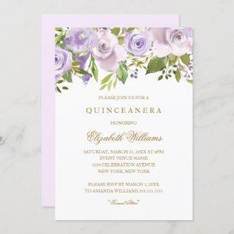 Lilac Purple Watercolor Floral Invite