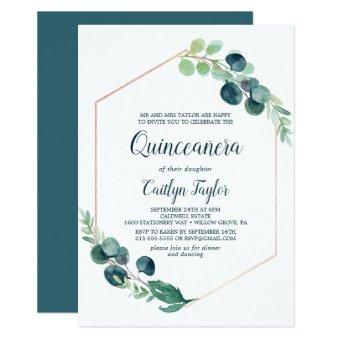 Lush Greenery Rose Gold Geometric Quinceañera