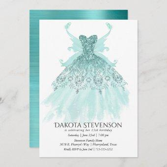 Luxe Fairy Wing Gown | Mint Green Turquoise Party