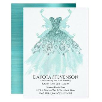 Luxe Turquoise Sparkling Fairy Wing Gown | Party