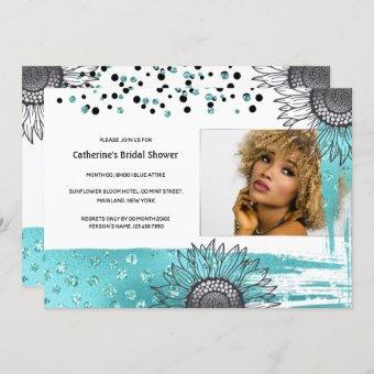 Luxury aqua gray confetti glitter sunflower party