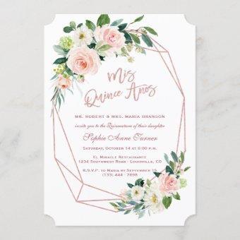 Luxury Pink Blush Flowers Rose Gold Quinceañera