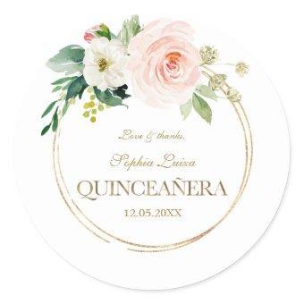 Luxury Pink White Flowers Gold Quinceañera Classic Round Sticker