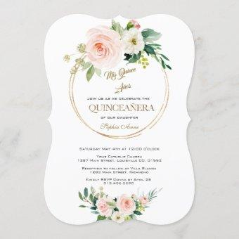 Luxury Pink White Flowers Gold Quinceañera